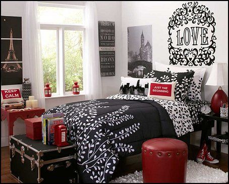 french inspired girls bedroom in gray and red   travel theme bedroom ideas. french inspired girls bedroom in gray and red   travel theme