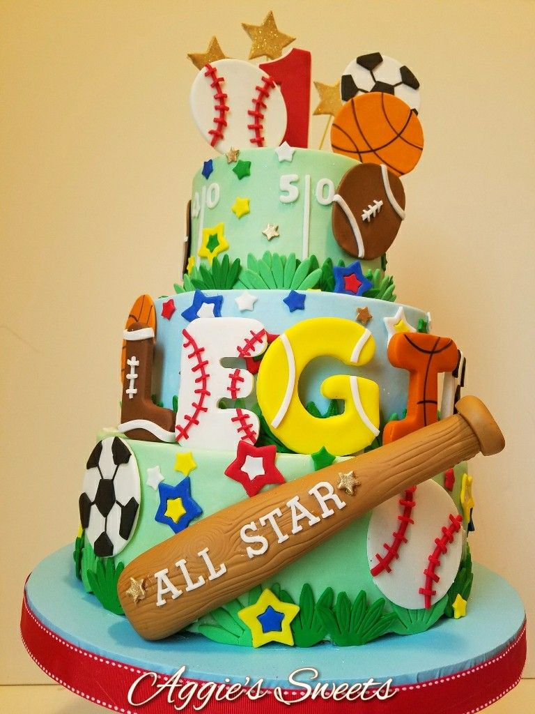 Admirable All Star Sports Themed Birthday Cake Sports Themed Birthday Party Funny Birthday Cards Online Alyptdamsfinfo