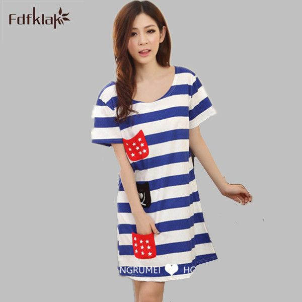 Fashion New 2017 Cotton Nightgowns Women Plus Size Sleepshirt Ladies ...