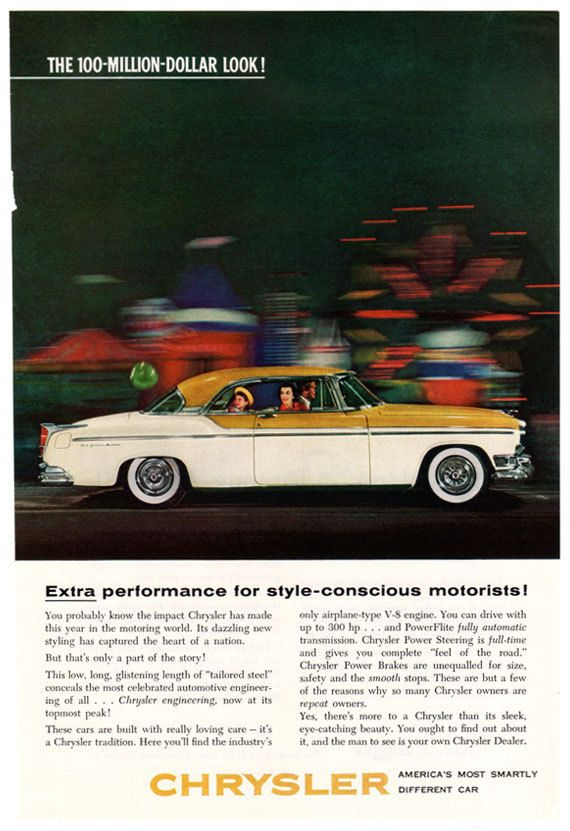 Retro car ad 1955 chrysler ad 1950s classic car advertisement vehicle fandeluxe