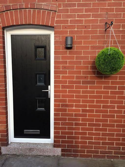 3 Square Glazed Composite Front Door in Black   Composite Entrance ...