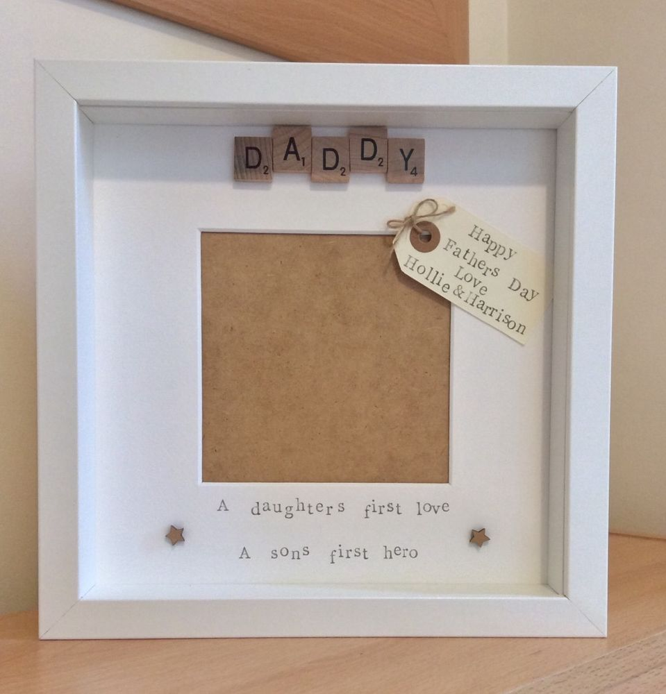Handmade personalised scrabble tile photo frame, daddy,daughter/son ...