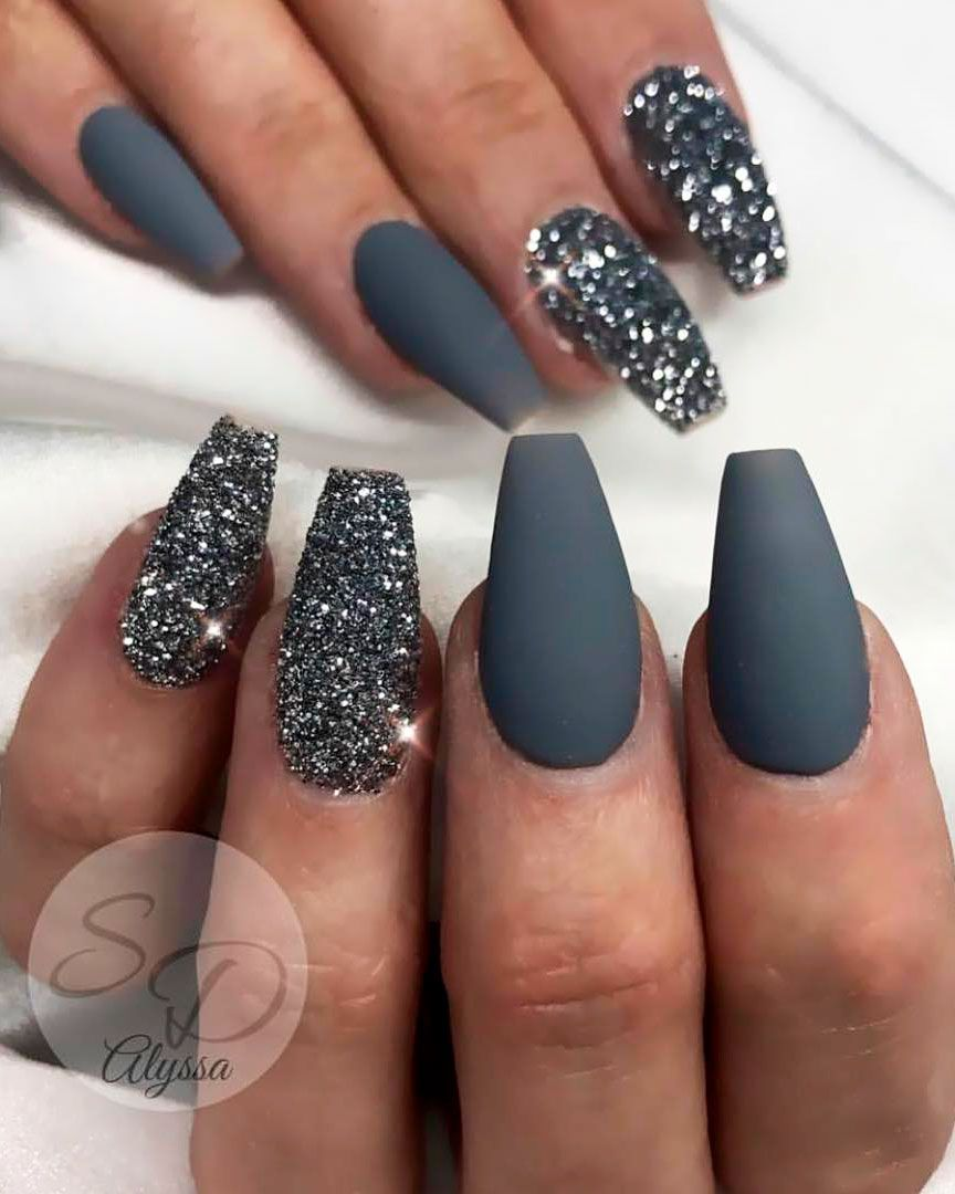 The Best Gray Nail Art Design Ideas Matte Nails Glitter Homecoming Nails Prom Nails