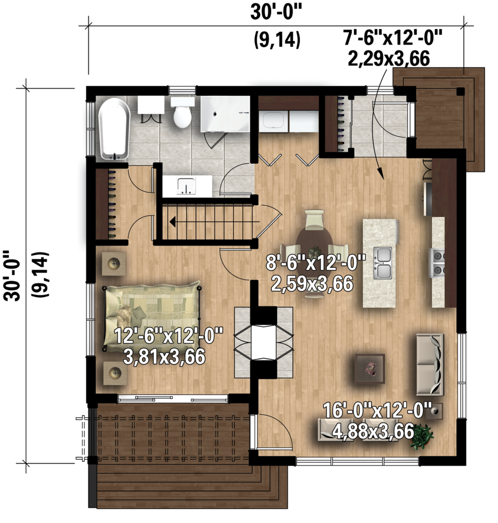 Modern One Bedroom House Plans I Really Like The Interior Of This Small House Contemporary Style