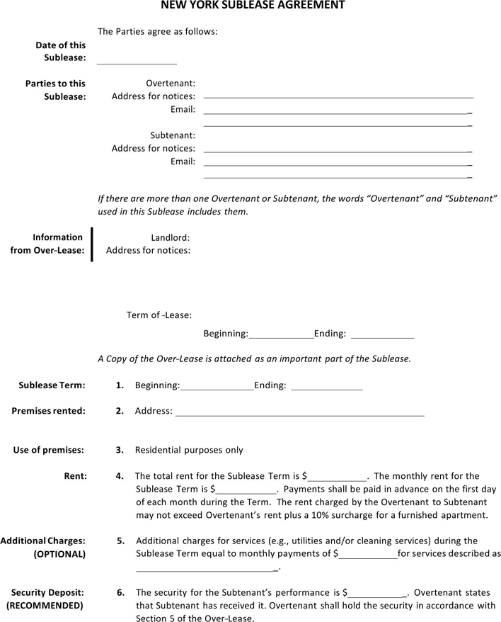 Free New York Sublease Agreement Doc Pdf 2 Page S Agreement New York Rent Being A Landlord