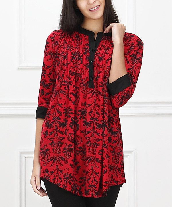 afb7534db12 Look at this Reborn Collection Red & Black Damask Notch Neck Tunic on #zulily  today!