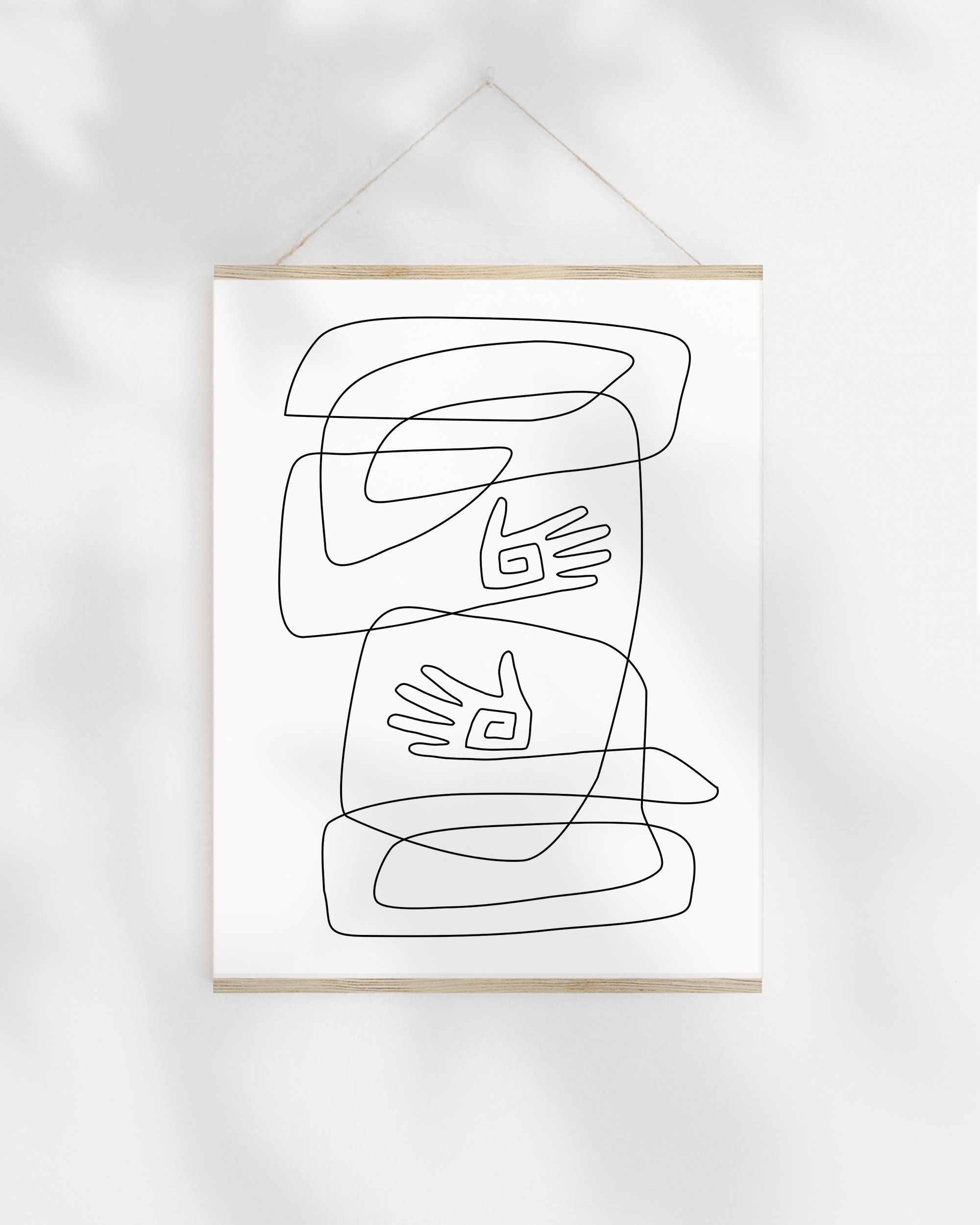 One Line Drawing Printable Sketch Abstract Hands Illustration Art