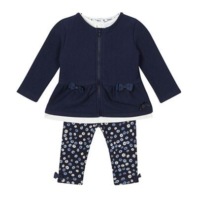 8fb7527ea J by Jasper Conran Baby girls  navy quilted jacket