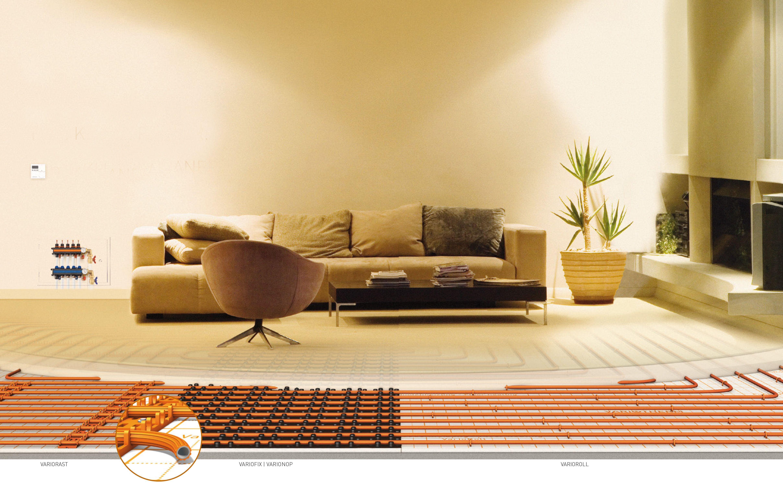 Verschillende soorten vloerverwarming. Met noppenplaat, stalen ...