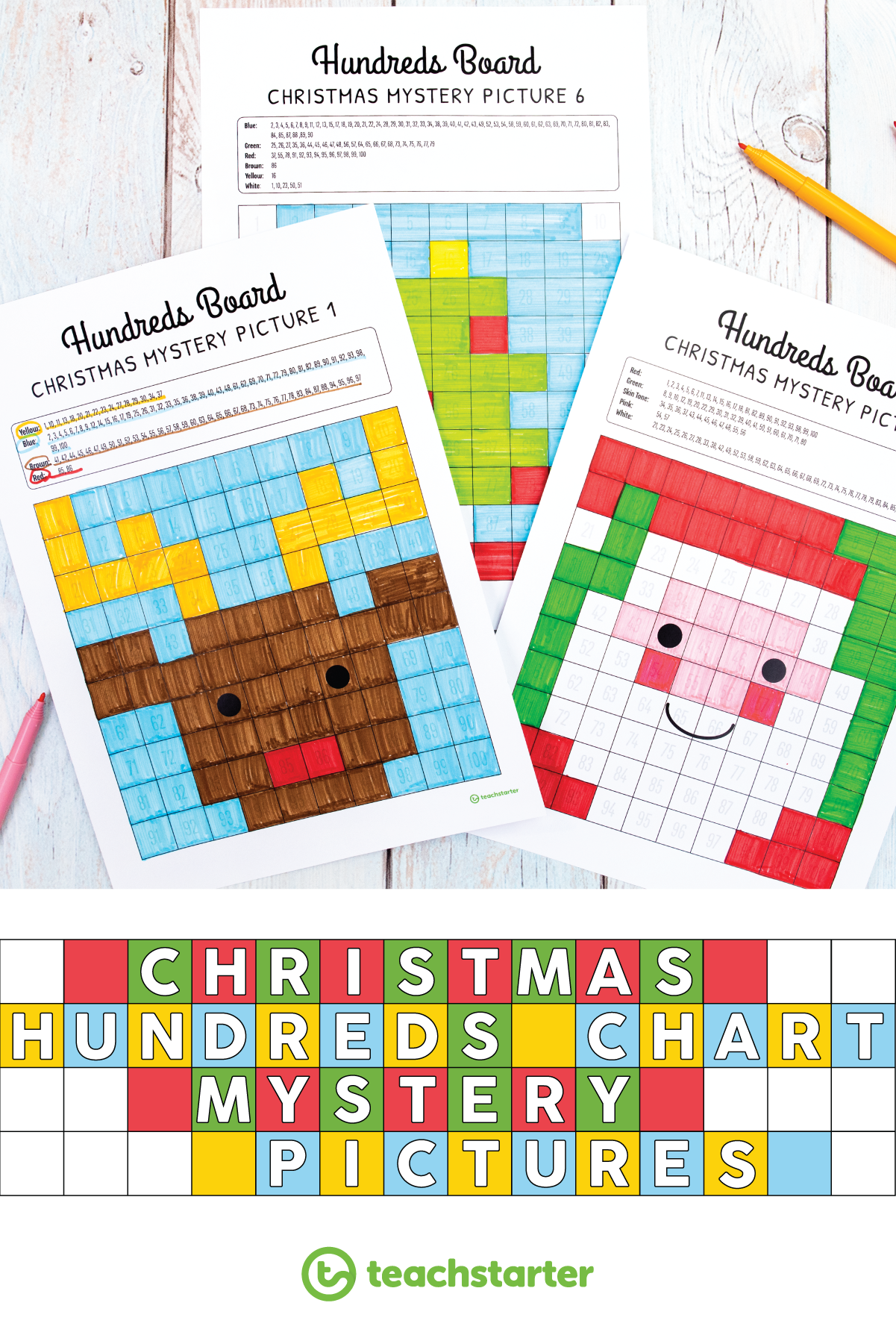 Holiday Hundreds Chart Mystery Pictures Free Download