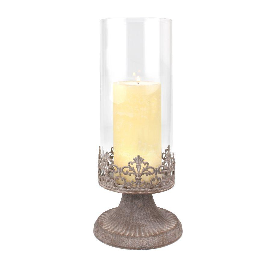 Vintage zinc candle holder.