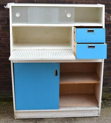 1950s 60s VERY RETRO FORMICA BLUE & WHITE WOODEN KITCHEN