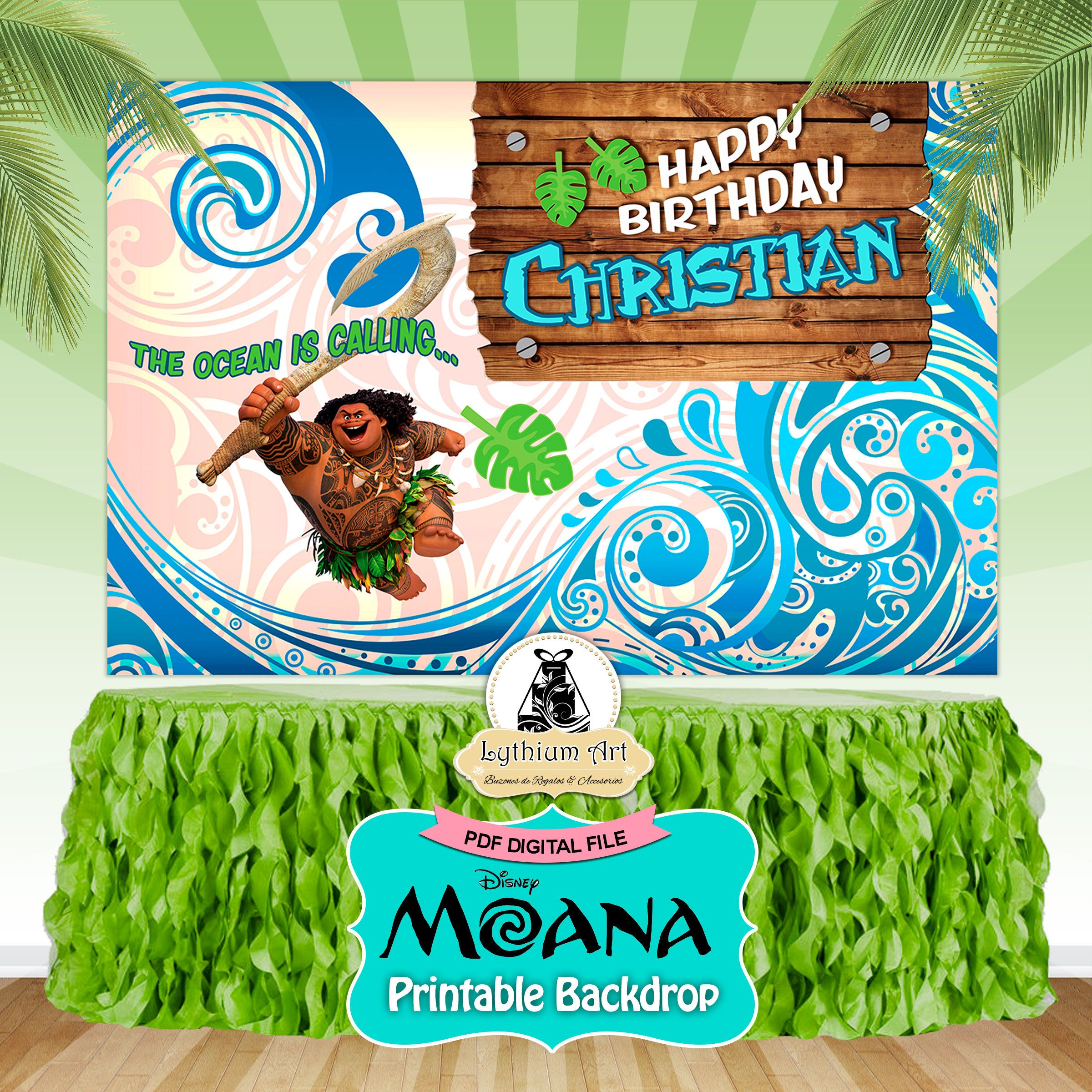 Printable airplane party backdrops party decorations diy template - Themed Parties Maui Backdrop Maui Printable Backdrop Maui Decorations Sweet Table Decoration Maui Birthday