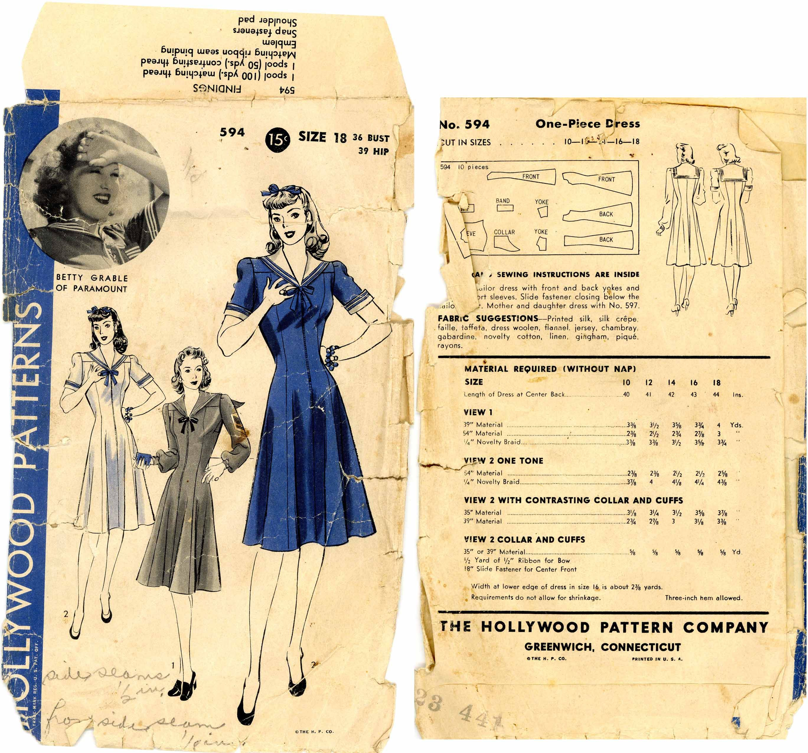 1940s () One-Piece Dress Navy theme  Hollywood Patterns 594