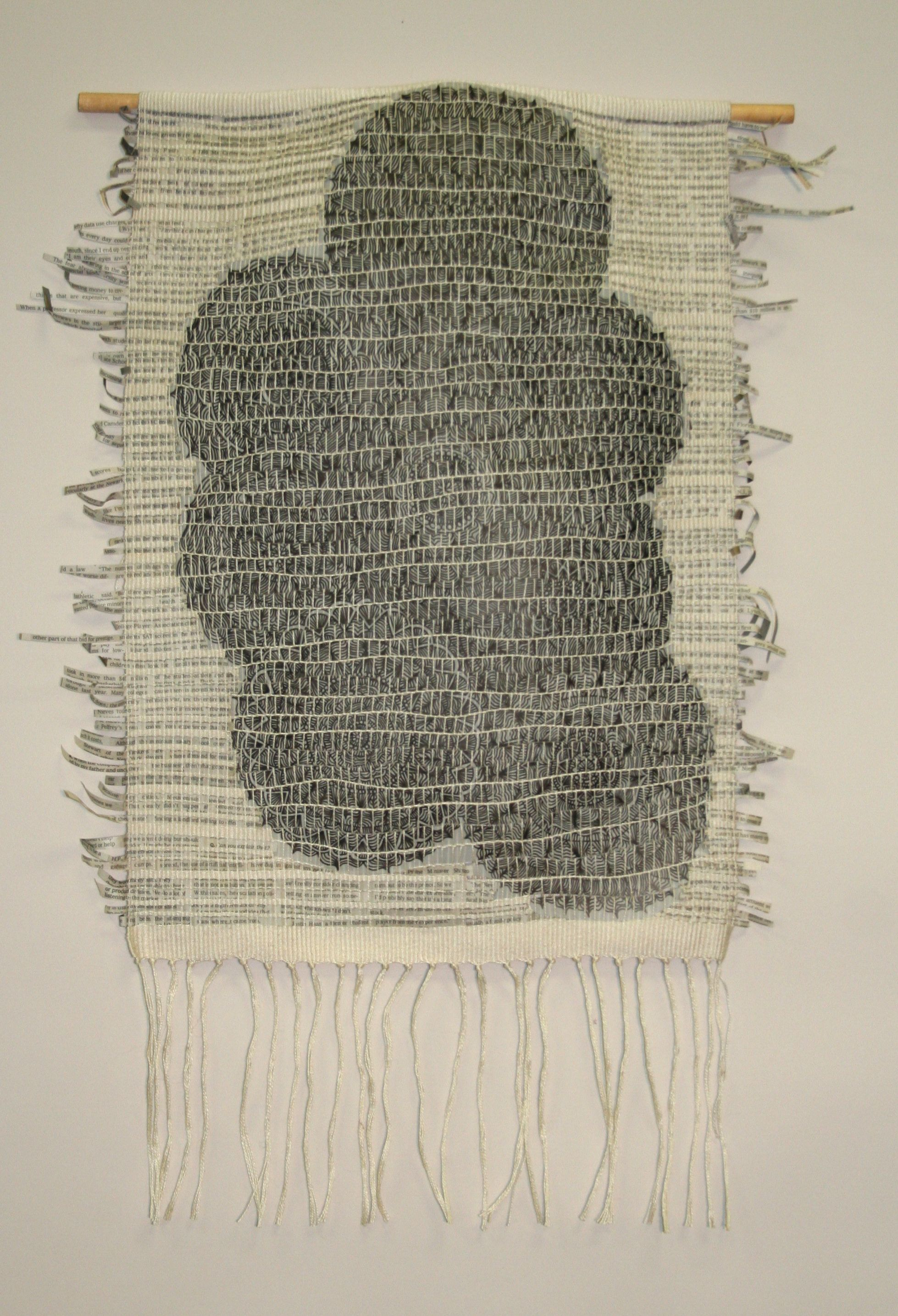 (Dead link - pinning for inspiration only) Nicole Heppard: Kingswood Weaving Studio | cotton + newspaper & ink on mylar strips | Bloomfield Hills, Michigan, U.S.A. | 2013