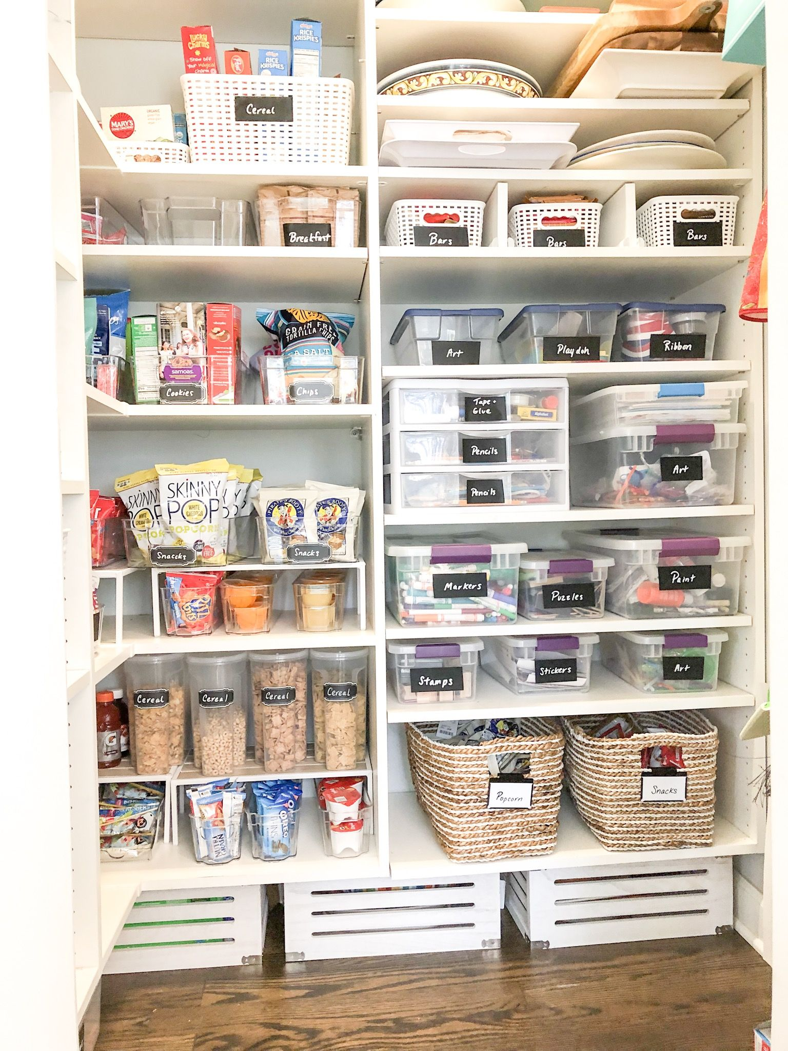 perfectly organized pantry with craft section snack station and all mom and dad s cooking on kitchen organization dishes id=62120