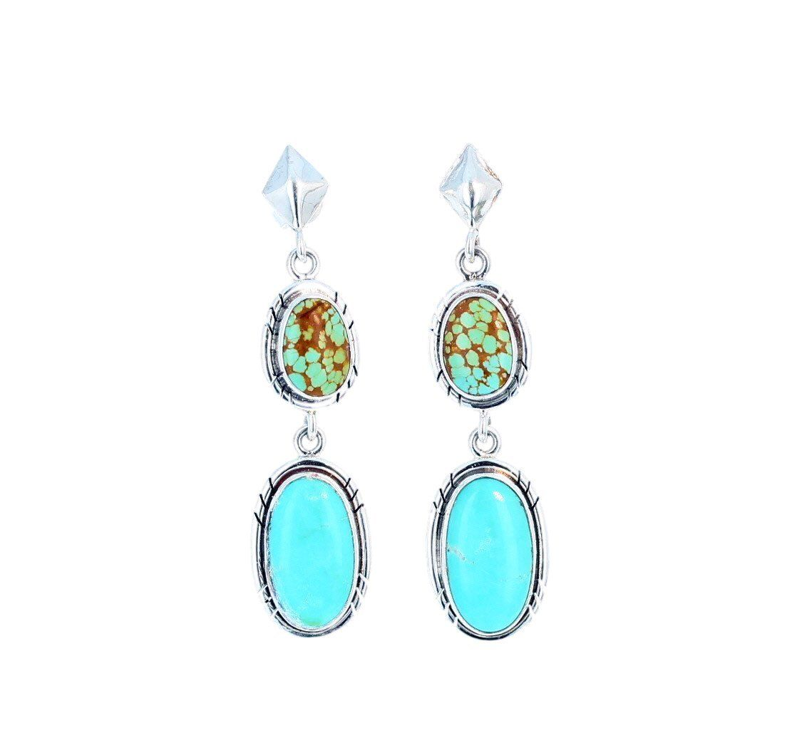 Carico Lake And Mexican Turquoise Earrings Sterling Silver 2 Stone