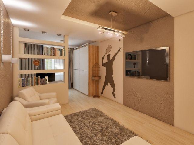 wandgestaltung jugendzimmer junge strukturfarbe braun beige schablone tennisspieler - Wandgestaltung Beige Braun