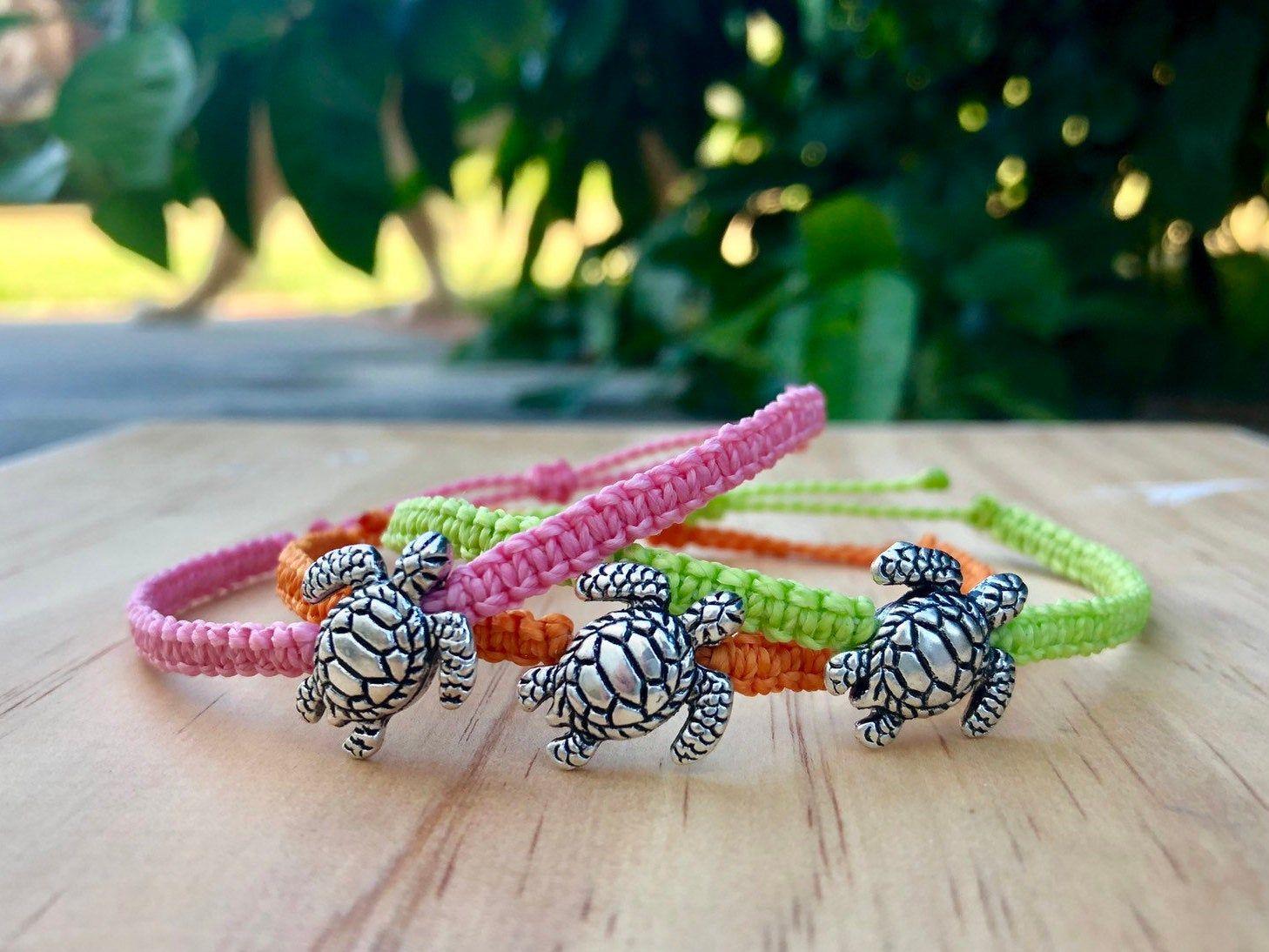 Custom sea turtle waxed braided bracelet waterproof