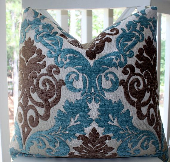 Decorative Pillow Cover  Paisley Peacock Blue Aqua Brown Silver Backing Pillow Cover Throw Pillow   Via Etsy