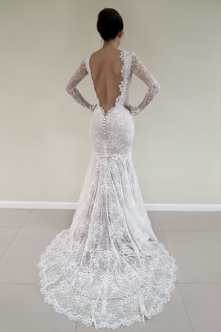 Open back lace wedding dress u long sleeved bridal gown wedding