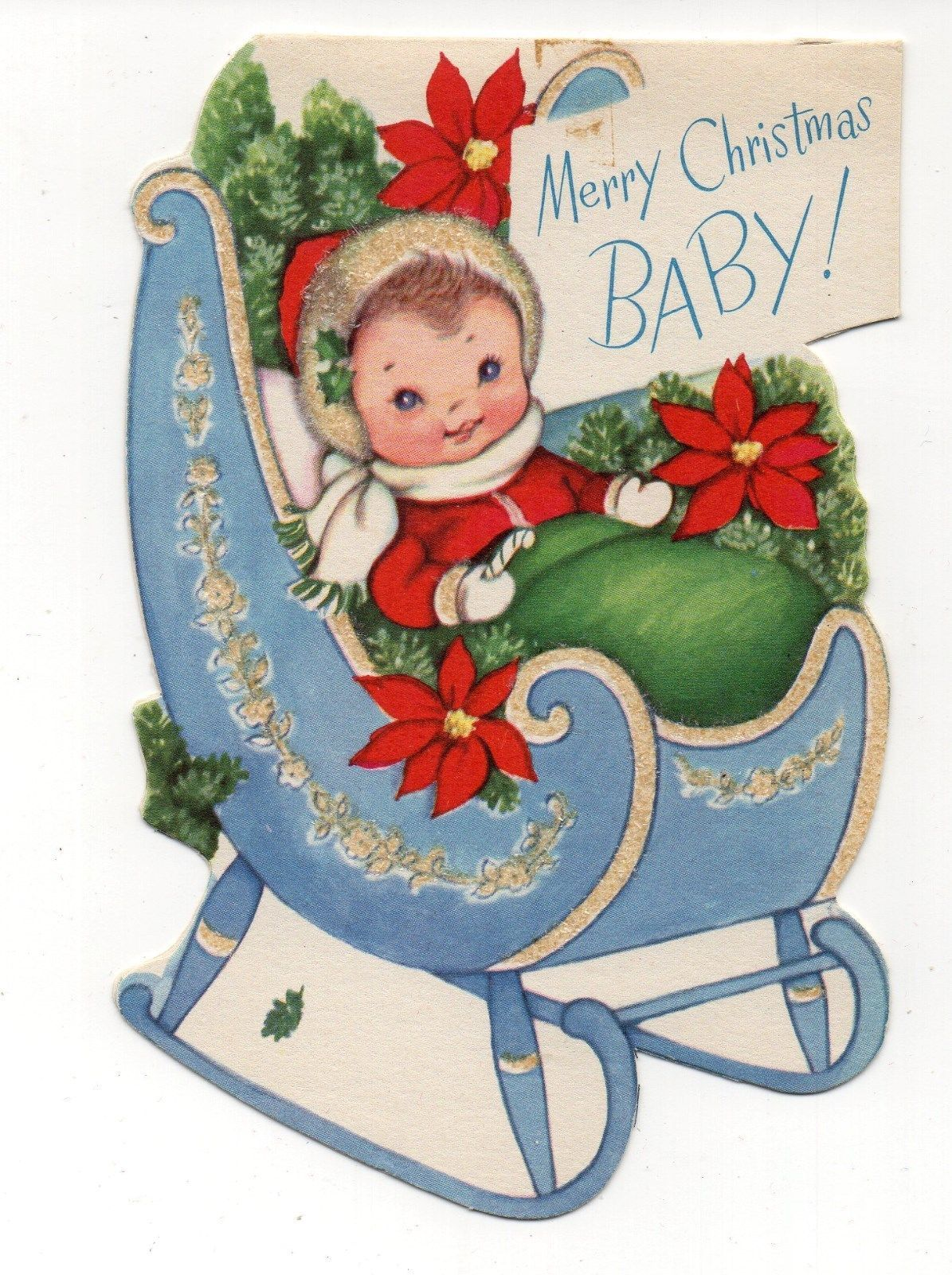 vintage rust craft christmas greeting card glitter baby