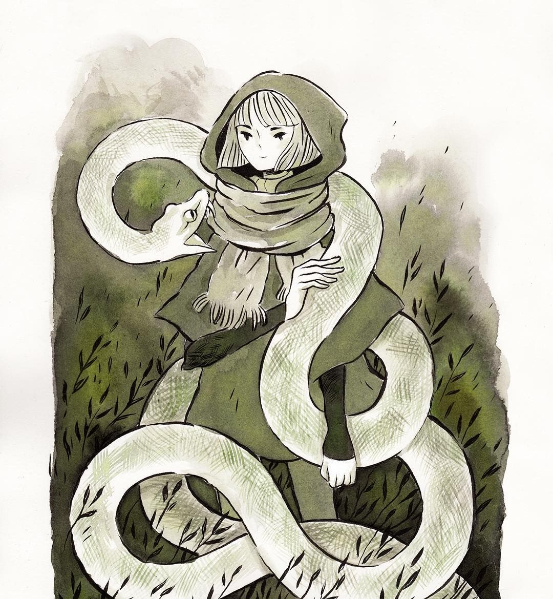 Inktober day 1, A witch and a white python familiar I'm doing just witches this inktober  #inktober #illustration #witch #python