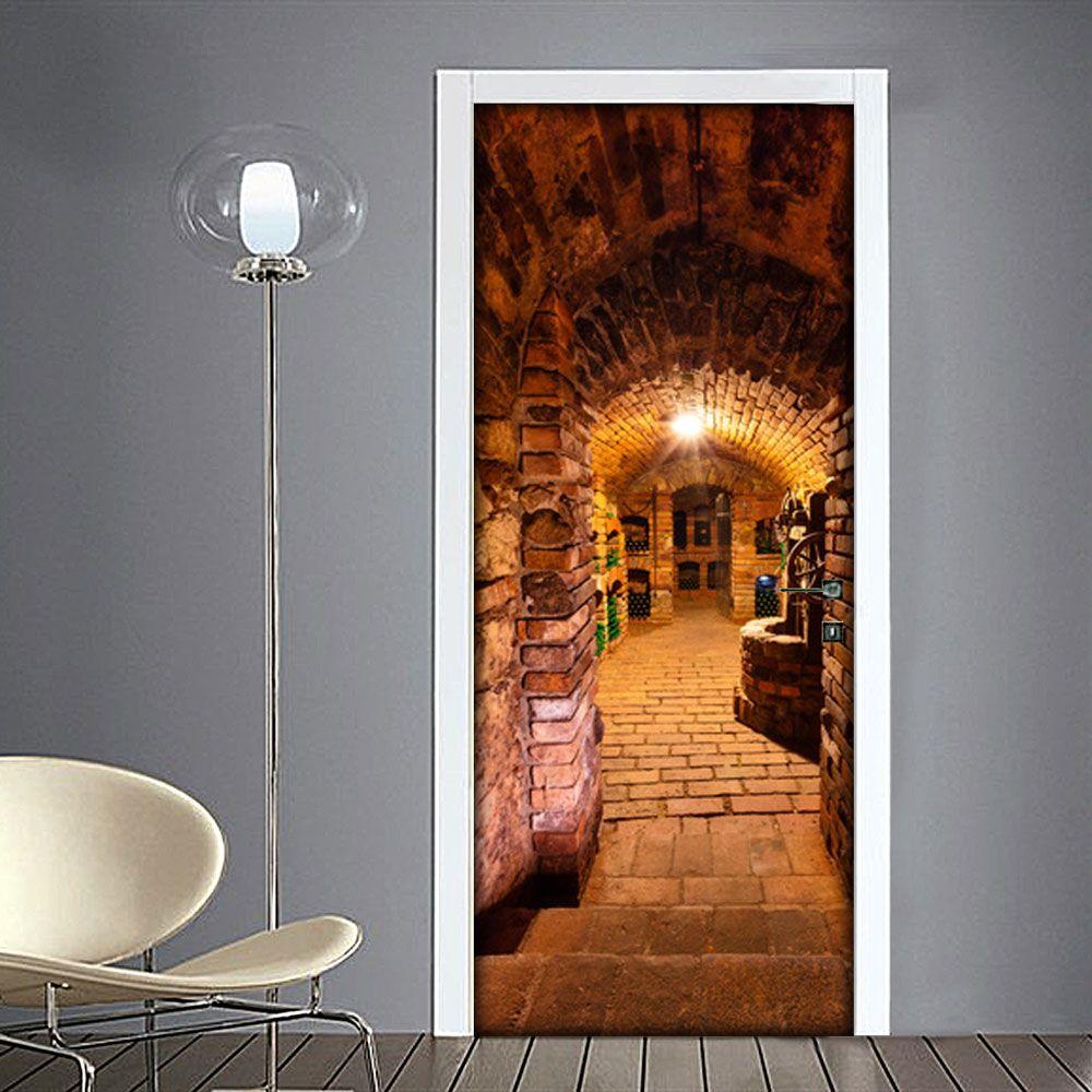 Adesivo per porta Botti nella cantina Porte, Cantina