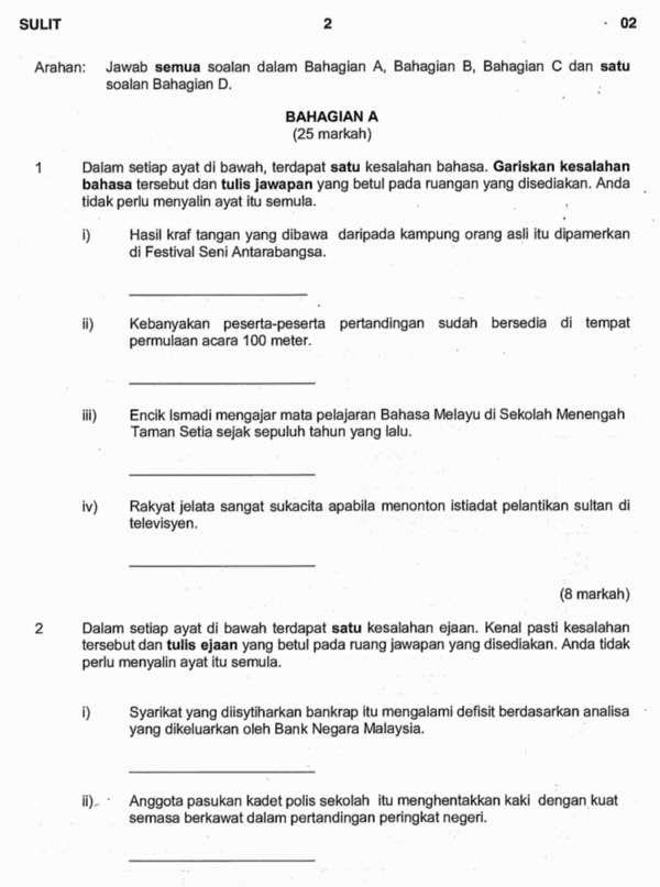 Contoh Soalan Percubaan Bahasa Melayu Pt3 Bm