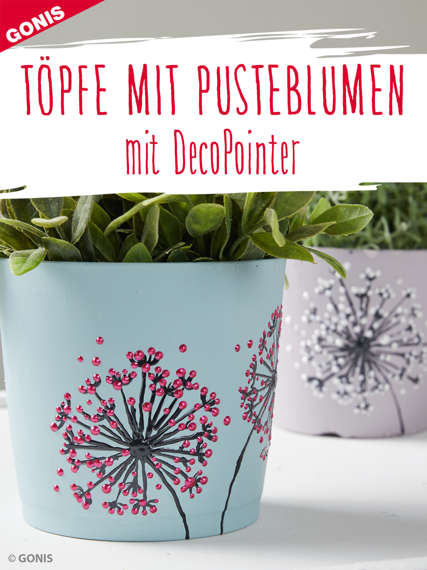 wie sie blument pfe schritt f r schritt mit pusteblumenmotiven gestalten diy artmix. Black Bedroom Furniture Sets. Home Design Ideas