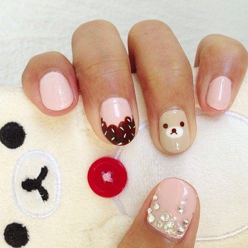 Cupcake Rilakkuma Nails Gel Nail Art Designs Funky Nail Art Girls Nails