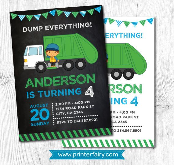 Garbage Truck Birthday Trash Invitation