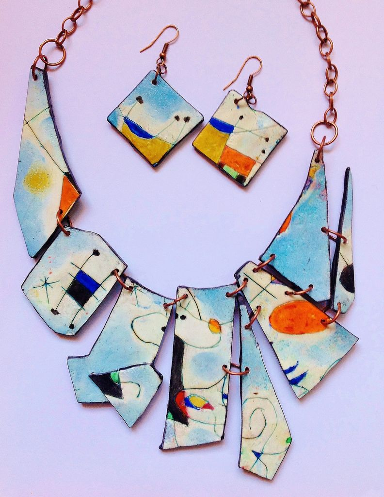 Playing with Mirò and polymer clay, parure | by Cecilia Leonini, Polymer clay ImpastArte