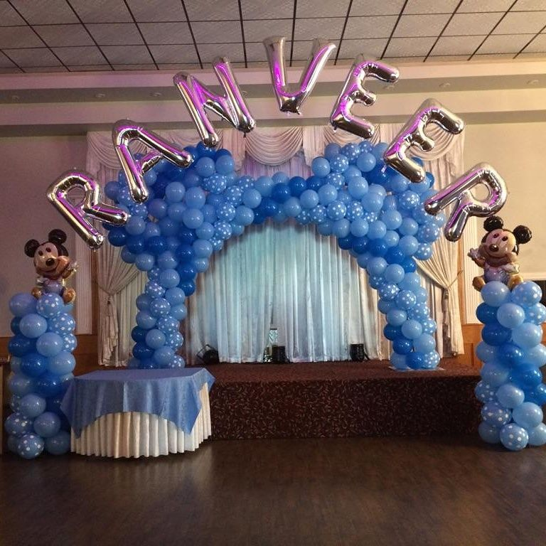 A Mickey Mouse Balloon Decoration Set Up For First Birthday In Toronto Area