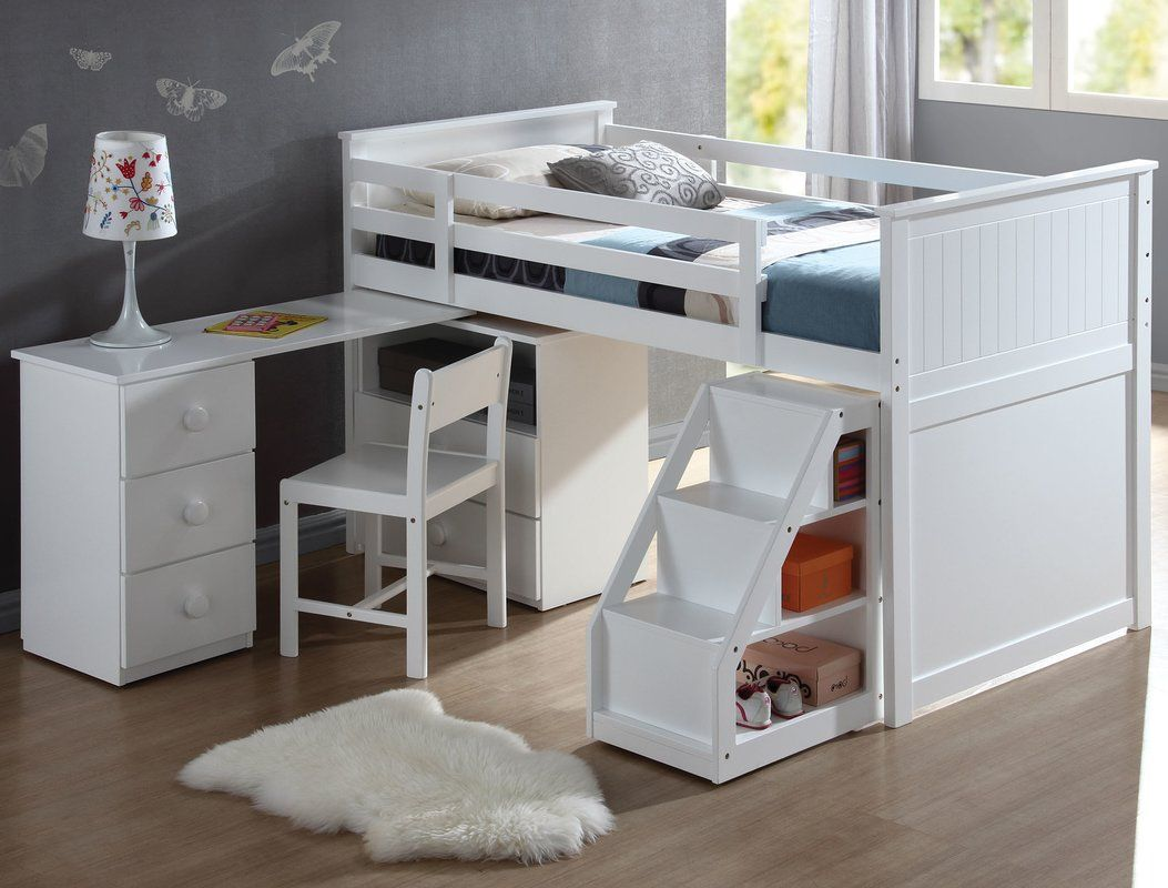 Wyatt Twin Loft Bed With Chest And Swivel Desk And Ladder Twin Loft Bed Kids Loft Beds Low Loft Beds