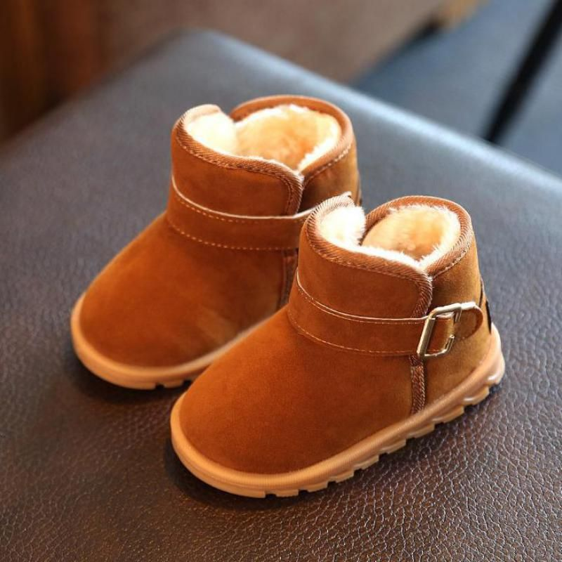 Cool Winter Boys Snow Boots For Girls Children Ankle Boots Add Plush Cotton  Suede Buckle Warm 8e14da21851a