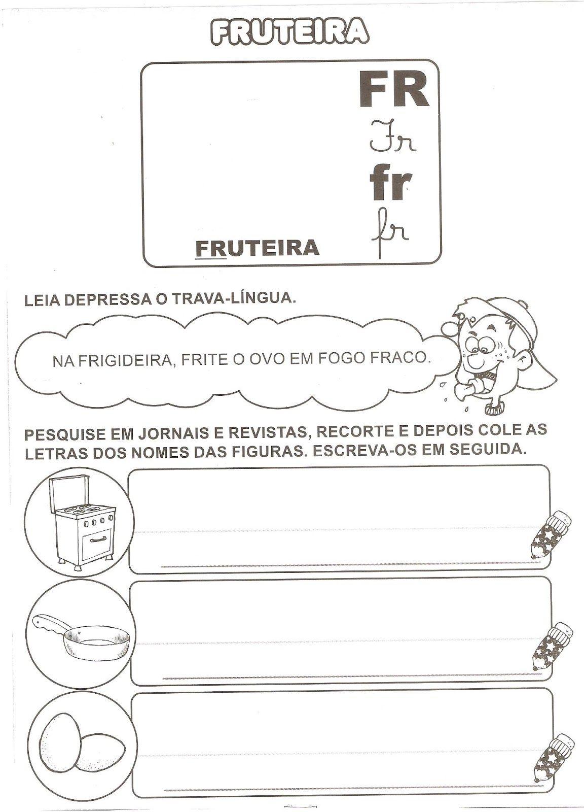 Atividades Com Br Cr Fr Gr Pr E Tr Atividades De Alfabetizacao