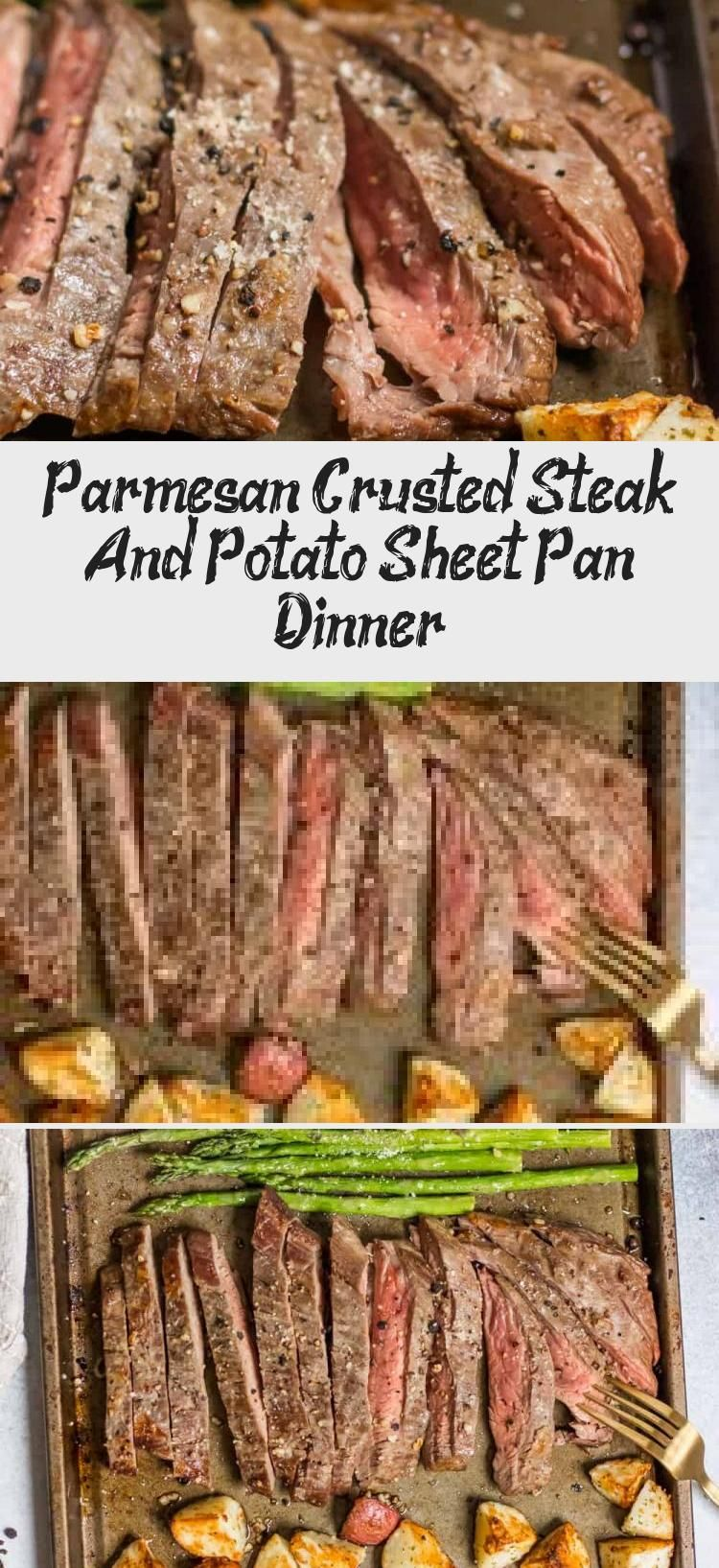 Parmesan Crusted Steak And Potato Sheet Pan Dinner Dinner on one pan with this Parmesan Crusted Steak and Potato Sheet Pan Dinner means simple and delicious dinner without the extra dishes! Juicy flank steak and crispy potatoes served with asparagus. A full meal on one pan!