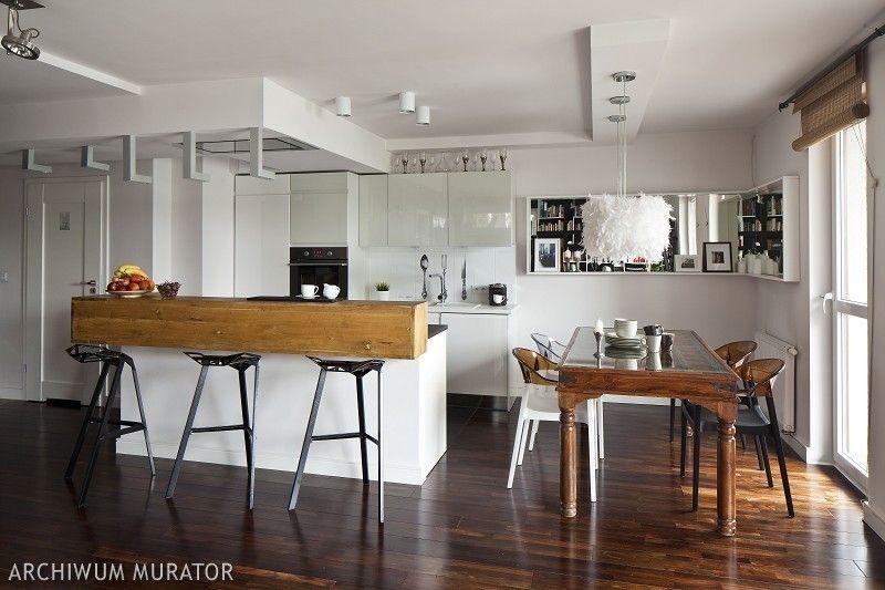 Projekt Kuchni Z Jadalnia Biala Kuchnia Z Ciemna Podloga Best Kitchen Designs Home Decor Kitchen Interior
