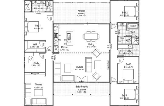 The Breezeway Floor Plans House Plans House On A Hill