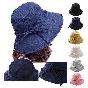 つば広 バケットハット 帽子 レディースハット リボン付 綿麻 UV ...
