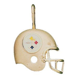 Go Steelers! Officially licensed NFL pendant. Cast in polished, solid 14k yellow gold. Enamel detailing. Dimensions: 21.25mm x 21mm. This item is the size of a nickel. Weight: 2.30 grams.