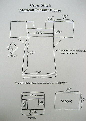 Mexican Peasant Blouse With Cross Stitch
