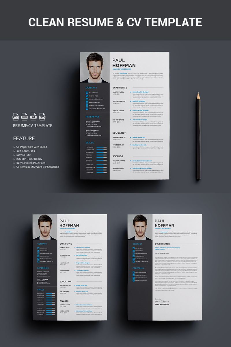 Resume Cv Paul Hoffman Resume Template 65458 Creative Resume Template Free Free Printable Resume Templates Resume Template Word