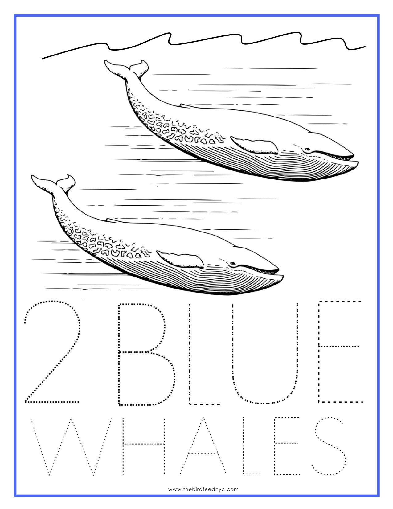Numbers Coloring Sheet 2 Blue Whales