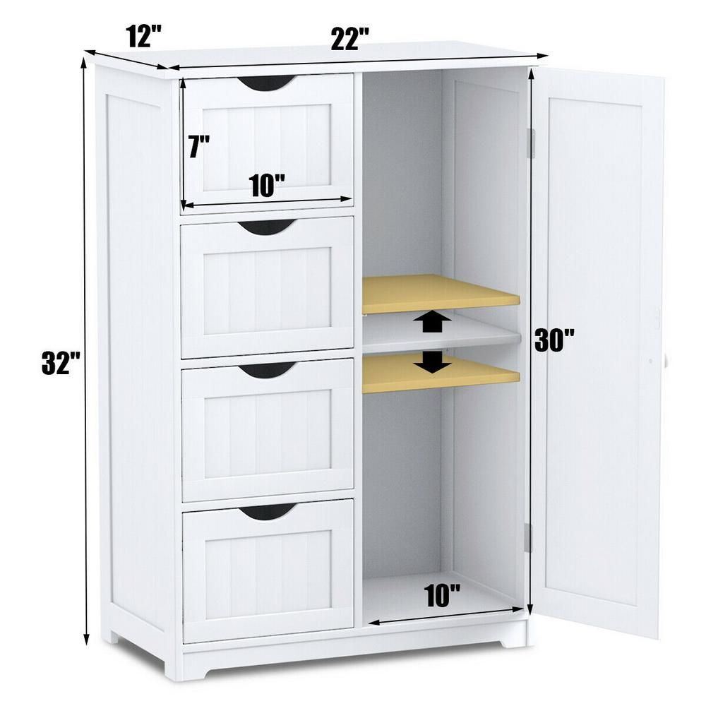 Costway Decora Ready To Assemble 12 In X 32 In X 22 In Wooden 4 Drawer Bath Cabinet Storage Cupboard With 2 Shelves In White Hw56765 The Home Depot Bathroom Storage Cabinet Cupboard Storage Storage Cabinets