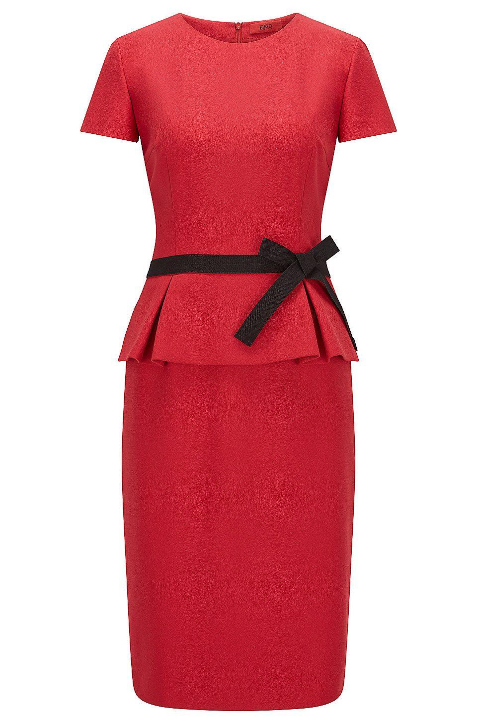 Regular-Fit Kleid aus Krepp mit Schößchen Rot von HUGO für Damen
