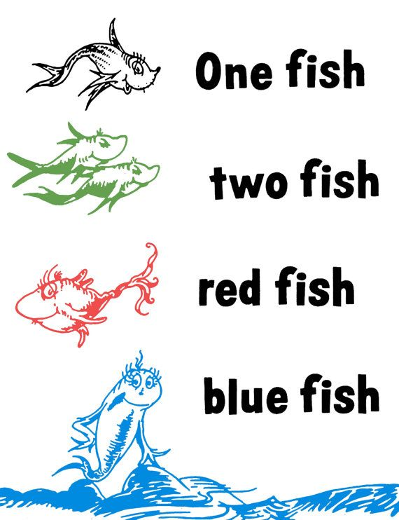 One fish two fish red fish blue fish dr seuss wall decal for Red fish blue fish dr seuss