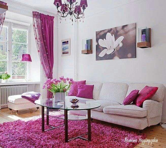 sala rosa blanco cuadro alfombra sala colores