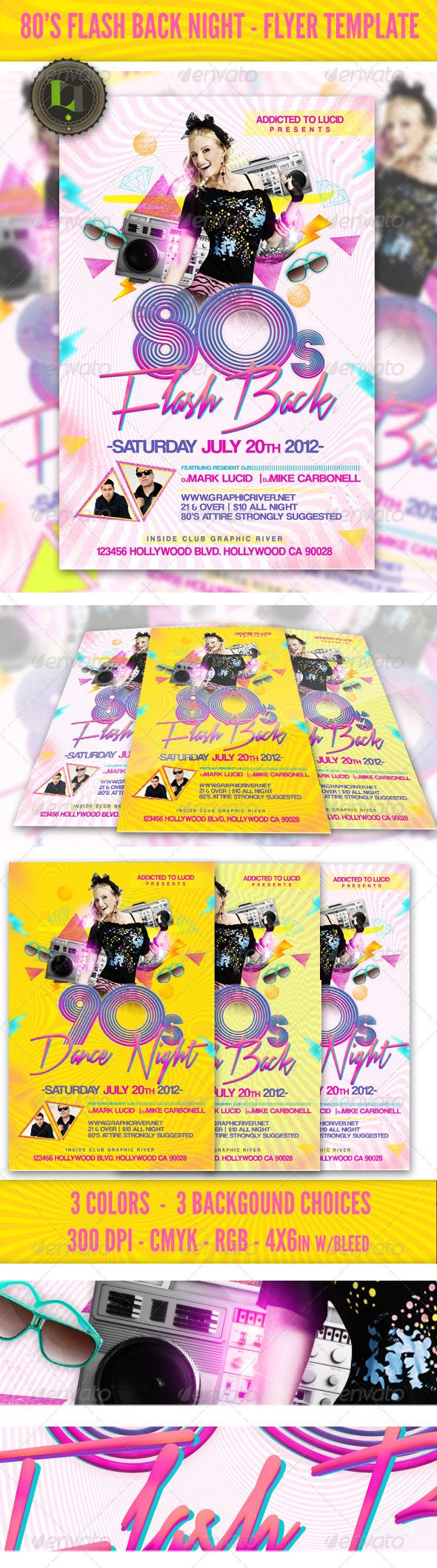 80s Flash Back Night Flyer Template – Template for a Flyer